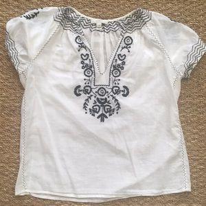 J. Crew White Boho Peasant Shirt Sz 0